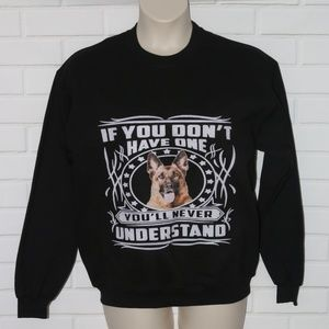 NWT Gildan Sz M Black German Shepherd Sweatshirt